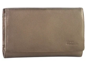 This ivory/gold large wallet has a smooth leather finish that gives it a classic style.