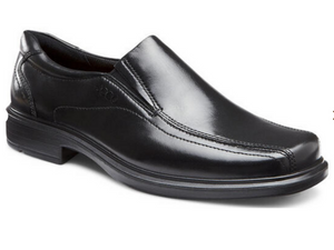 Smooth black leather dress loafer with bicycle stitching and two elastic gores for easy on/off.