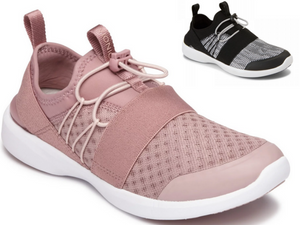 A great walking shoe in both a blush and white/black colours.  Elastic laces with lock mechanism to have laces tighten to keep heel in place. Large band of elastic placed across the front instep and around the heel given it a sporty style. With a white sole that is so on trend right now.