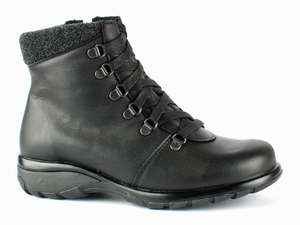 A nice and tidy black leather lace up and zipper entry boot keeps your feet dry and warm.