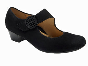 Black suede dress shoe with an inch heel smooth classic look with velcro mary jane strap.