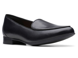 The traditional Clarks loafer with little dress flat heel, smooth black leather upper with stitched in vamp on top.