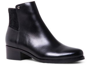 Sleek black leather pant dress boot from Blondo.  Classic styling with a small heel and smooth leather upper.  Waterproof, nice tread, and elastic gore at back, just above heel to allow for easy movement.