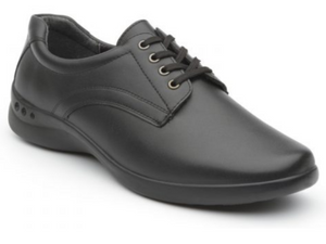 Black leather lace up walking shoe featuring padded collar, cushioned sole and a nice clean look. Perfect School Uniform Shoe.