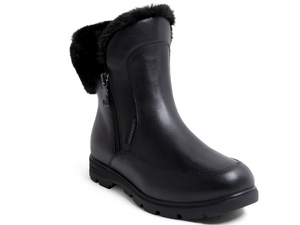 Leather waterproof black winter boot for women featuring zipper entry and faux fur lining inside and on top.
