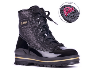 This waterproof winter boot features a black patent leather bottom and a material glitter look upper.  Black laced from top of foot to above ankle.  A fun look without going over the top.