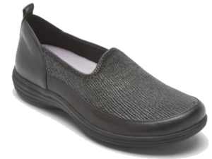 Black leather loafer style shoe with a ripple effect on the top.  This allows the shoe to shape to your feet and give the utmost in comfort.  Great shoe for bunions and hammer toes.
