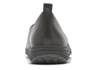 The leather heel is durable and shaped to hold the heel in place.