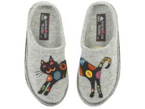 What a  sassy cat.  Grey boiled wool slipper for ladies with a embrodiered black cat with colourful swatches all over her , from haflinger, nice and comfy with arch support