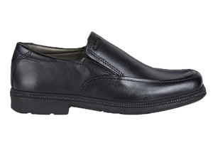 A classic style slip on school uniform shoe with apron stitching on front and sleek design.