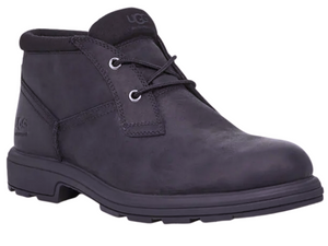 Ankle height black oiled leather waterproof boot for men features a two eyelet lace up with a padded collar for comfort.