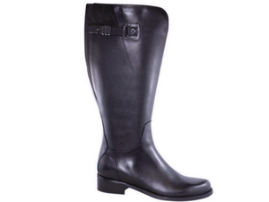 Tall leather boot for ladies, wide calf and wide width.  Saddle heel and faux buckle strap at top of boot. Waterproof