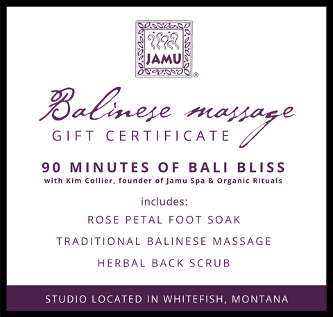 JAMUspa Bali Bliss Session:  Gift Certificate for Balinese Massage with Kim Collier