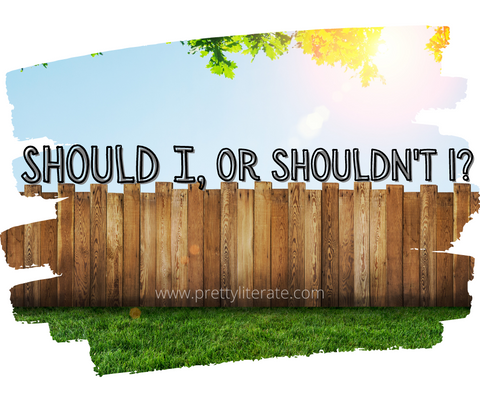 should I, or shouldn't I graphic for pretty literate's subscription book bag