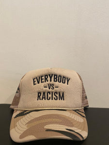 "YFF "" Everybody Vs Racism "" Foam Trucker Cap Desert Storm"