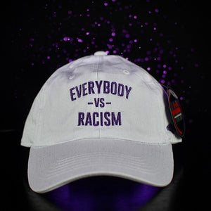 YFF Everybody Vs Racism White & Purple Dad Hats