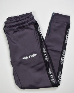 YFF Adult Tracksuit Pants Charcoal Grey Black & White
