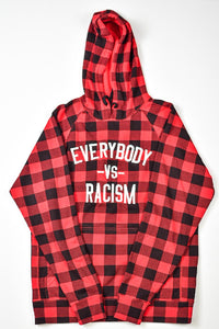 "YFF Buffalo Plaid Red Black & White "" Everybody Vs Racism "" Hoodie"