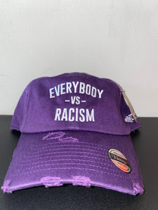 "YFF "" Everybody Vs Racism "" Purple & White Distressed Dad Hat"