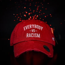 Load image into Gallery viewer, Red & White YFF Everybody Vs Racism Dad Hat