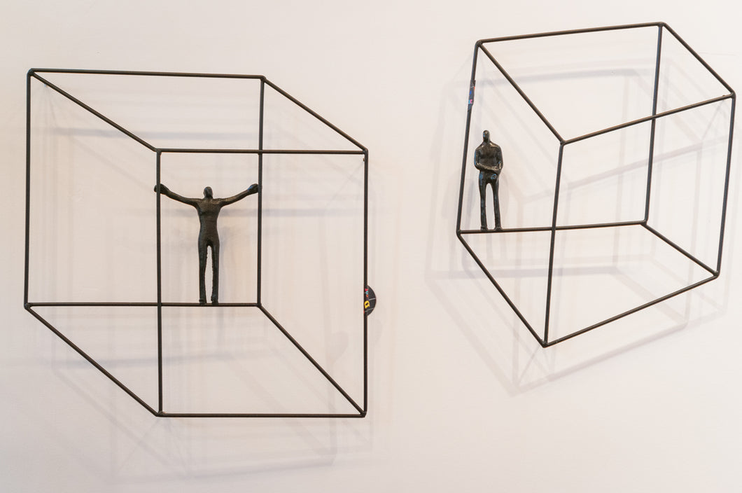 2 piece set 3D Sculpture Wall Art Gift For Home Decor Interior Design square illusion Man Contemporary Artwork Black CUST09