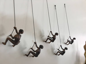 10 Piece Climbing Sculpture Wall Art Gift For Home Decor Interior Design Rock Climber Climbing Man Contemporary Artwork Resin BRONZE ANTIQUE