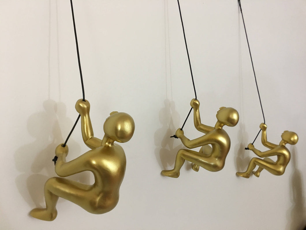 3 Piece BIG Climbing Sculpture Wall Art Gift For Home Decor Interior Design Rock Climber Climbing Man Contemporary Artwork Resin GOLD