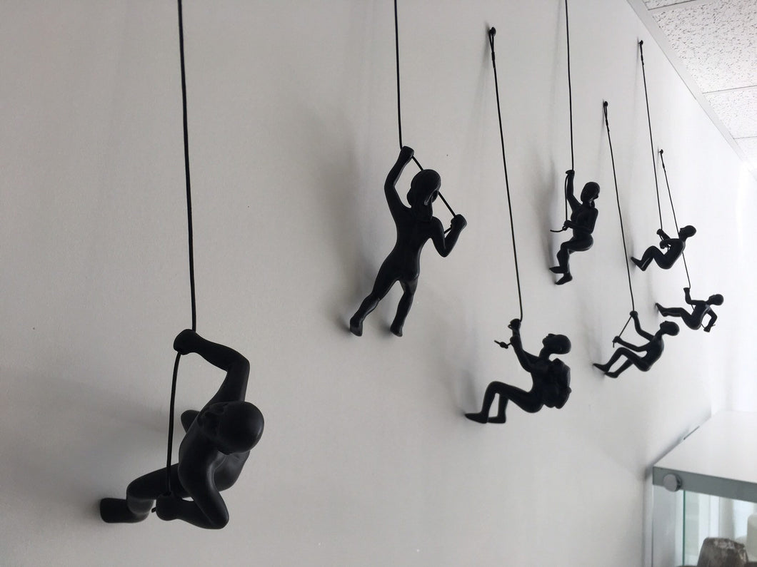 7 Piece Climbing Sculpture Wall Art Gift For Home Decor Interior Design Rock Climbing Man Contemporary Artwork woman Black