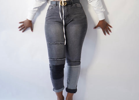 High Waist Patched Jeans - Label Me Myaj