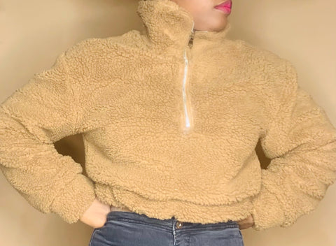 Cropped Teddy Jacket - Label Me Myaj