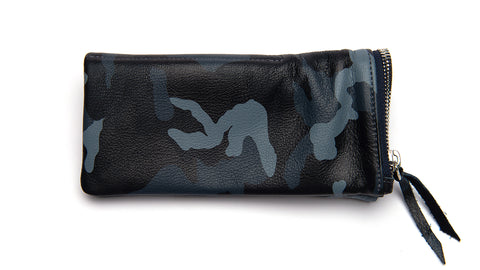 LEATHER POUCH-Camo-Blue