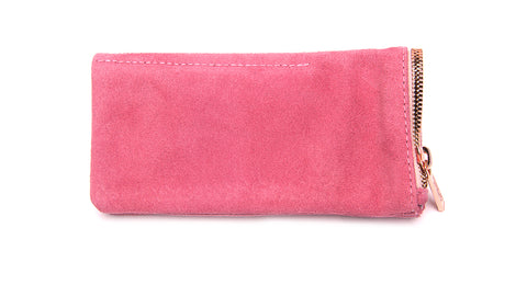 LEATHER POUCH-Pink Suede