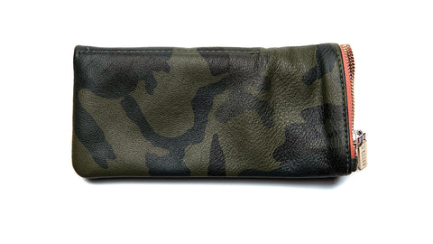 Leather Pouch-Camo-Green