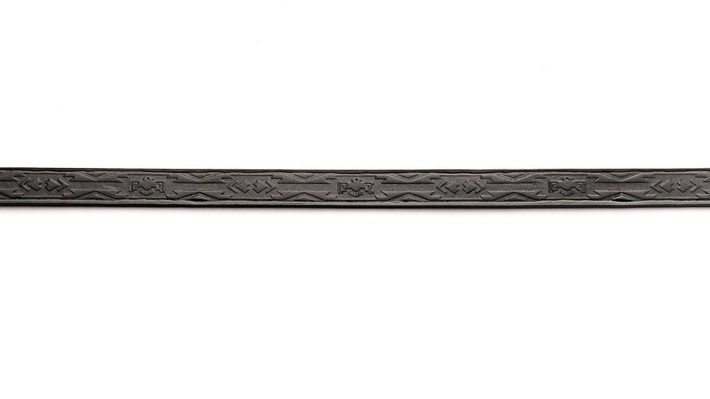 TOOLED LEATHER STRAP-Black