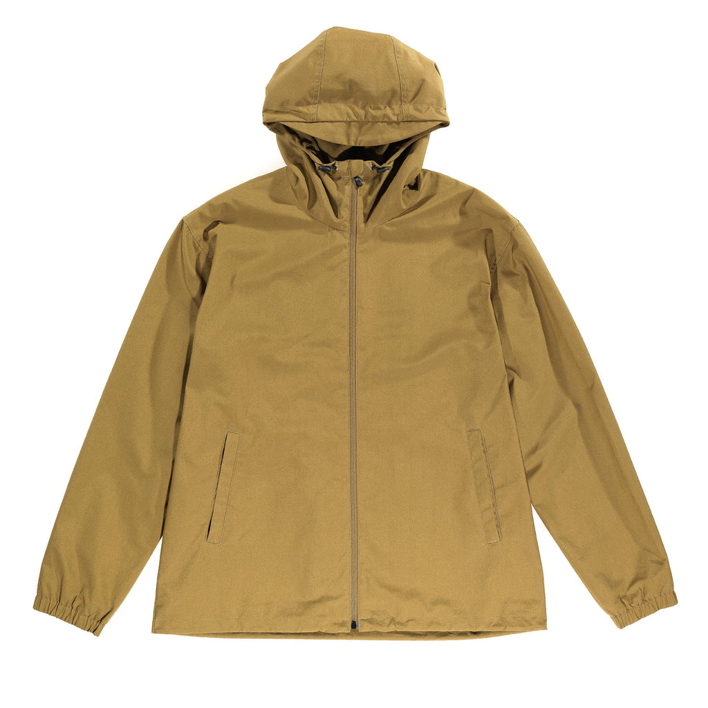 Shell Jacket with full coverage hood. Front zipper opening and two single-welt pockets with zipper closures. Hood and hem have adjustable drawstrings and elastic cuffs, that provide a smart fit to the garment. Storm patch in the back of the jacket for a full protection against the elements.