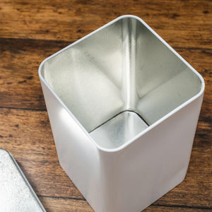 White Tin Container