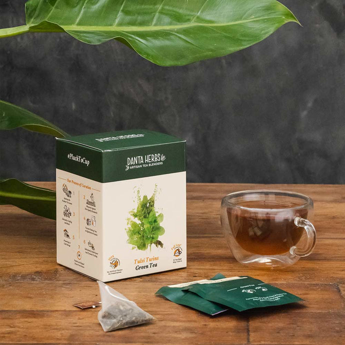 Tulsi Twins Green Tea - Pyramid Teabag