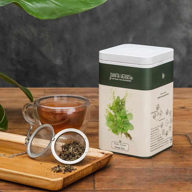 Tulsi Twins Green Tea - Tin Caddy