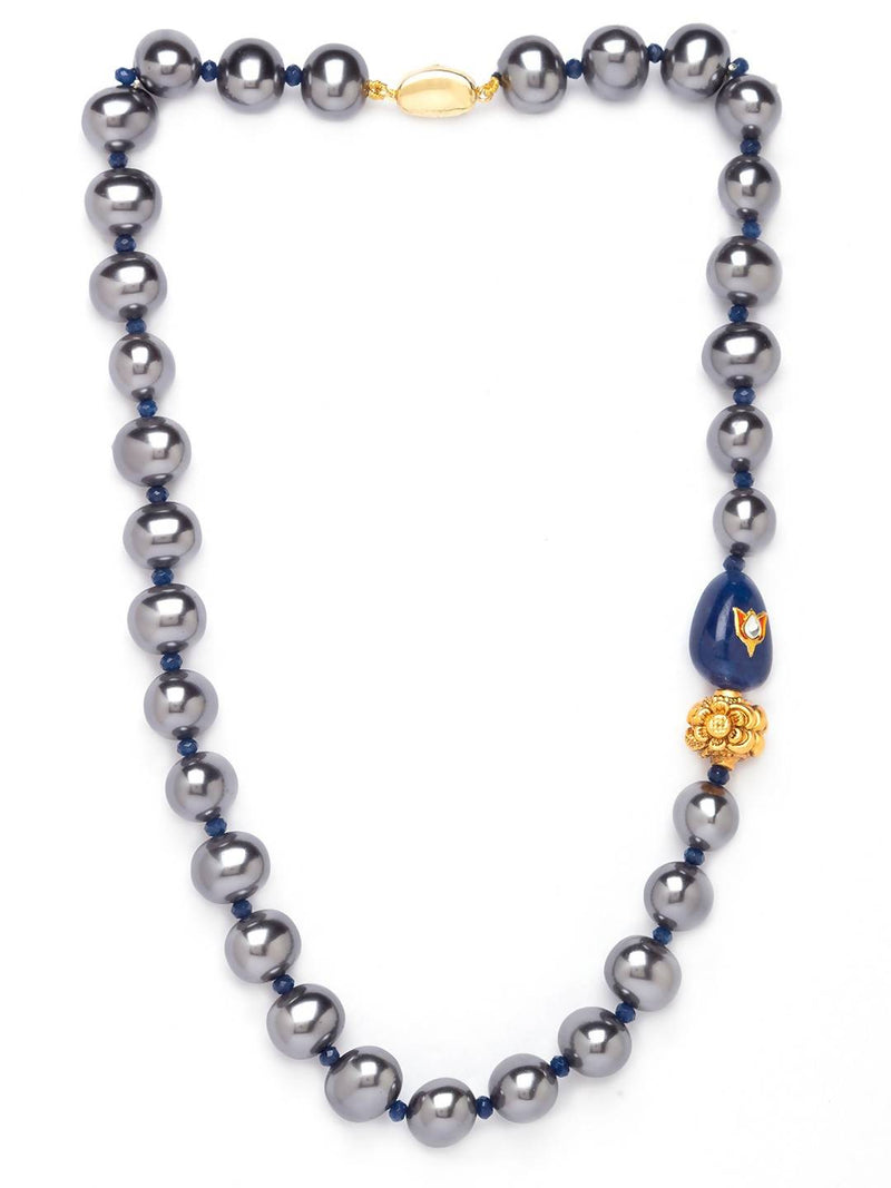 Grey Shell Pearl Necklace With Gold-Plated Agate Beads