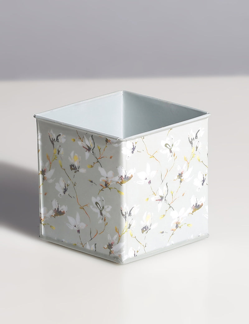 Floral Printed galvanized Metal Planter - Sweet Magnoliaa