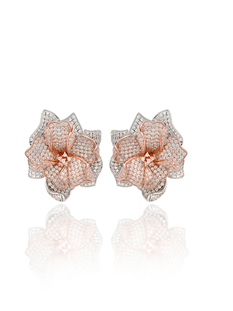 Silver Handmade Earrings With Gold Plating And Carbon Created Diamond Gem Stone - Sweet Magnoliaa