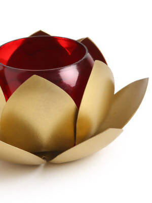 Iron lotus design tealight w red glass in gold finish Set of 2