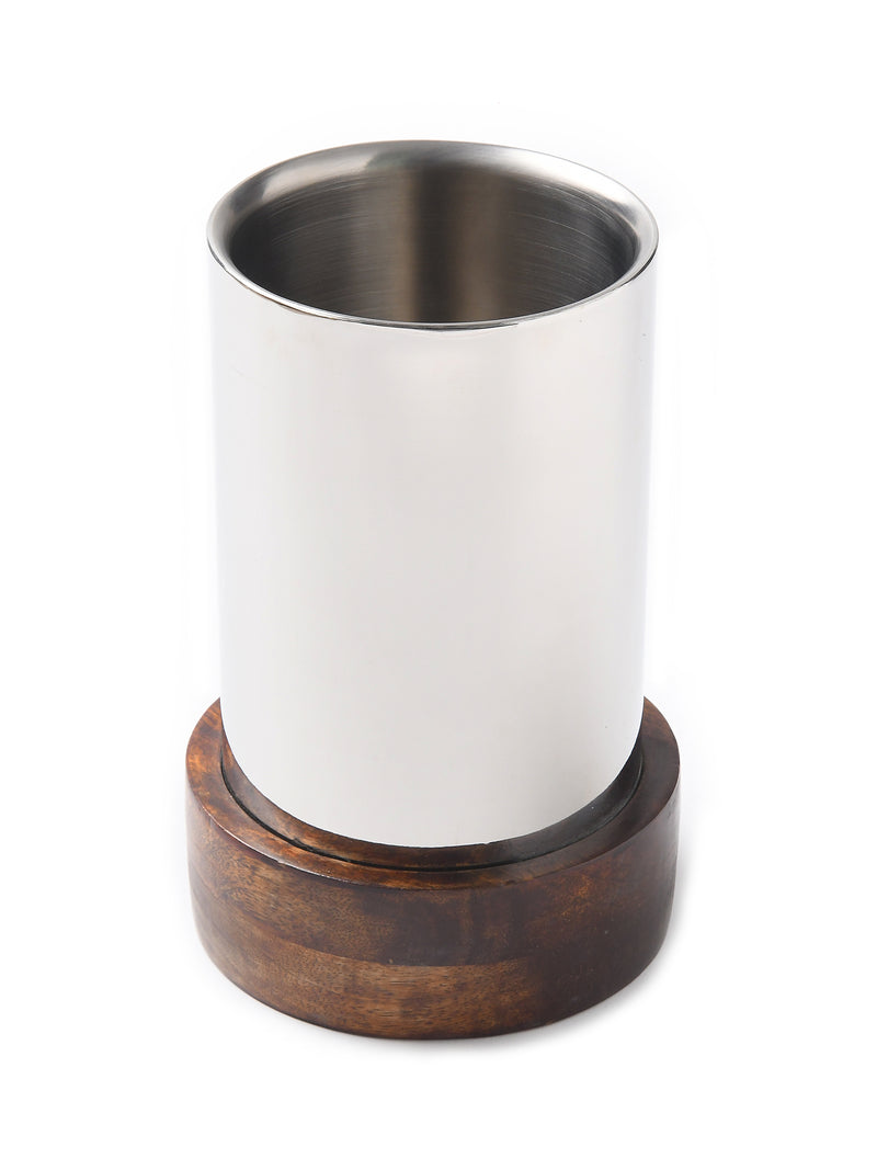 Stainless Steel Straight wine cooler in mirror finish with wooden base - Sweet Magnoliaa