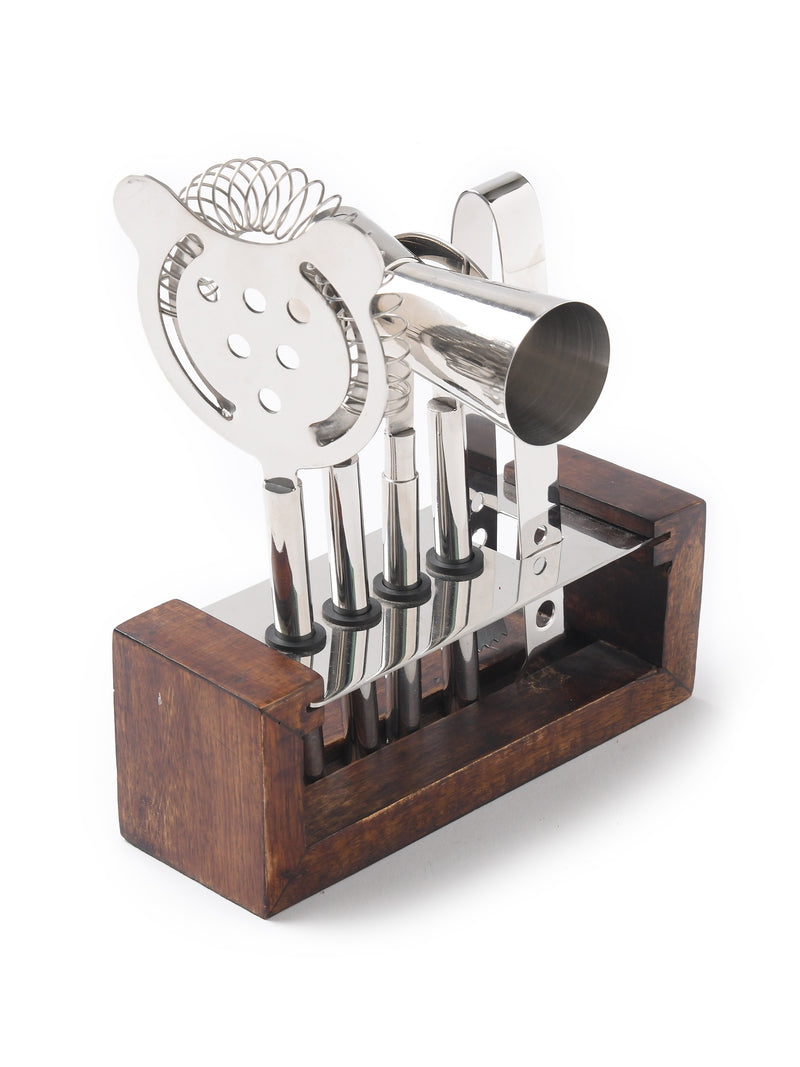 Stainless steel Bar tool Set in mirror finish with wooden base - Sweet Magnoliaa