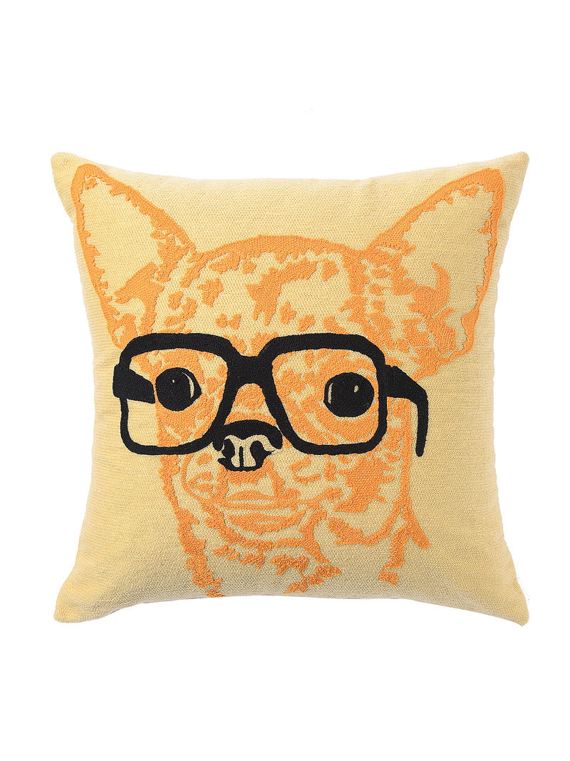 Quirky and Beautiful Dog with Spectacle Cushion Cover - Sweet Magnoliaa
