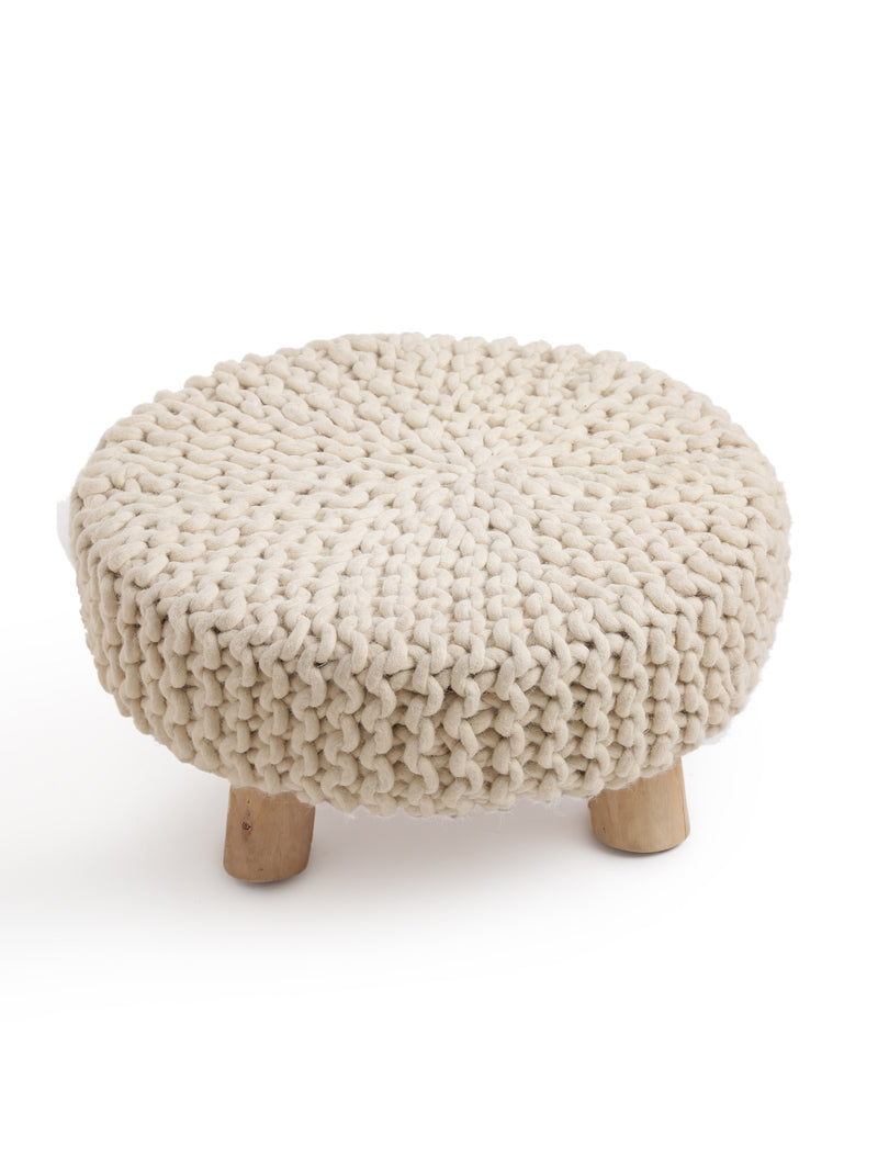 Ivory Woollen Hand knitted round wooden stool - Sweet Magnoliaa
