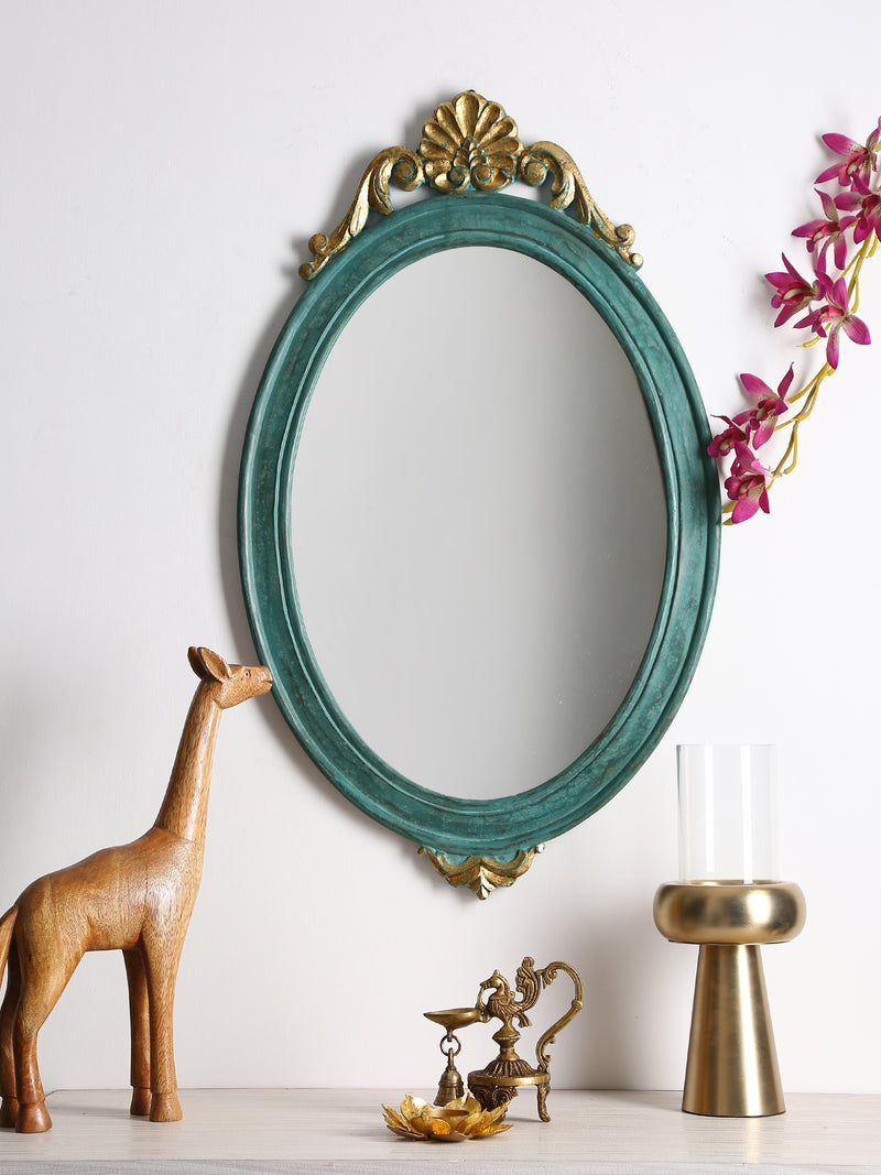 Oval shape Mango wood mirror in green  colour with gold foil - Sweet Magnoliaa
