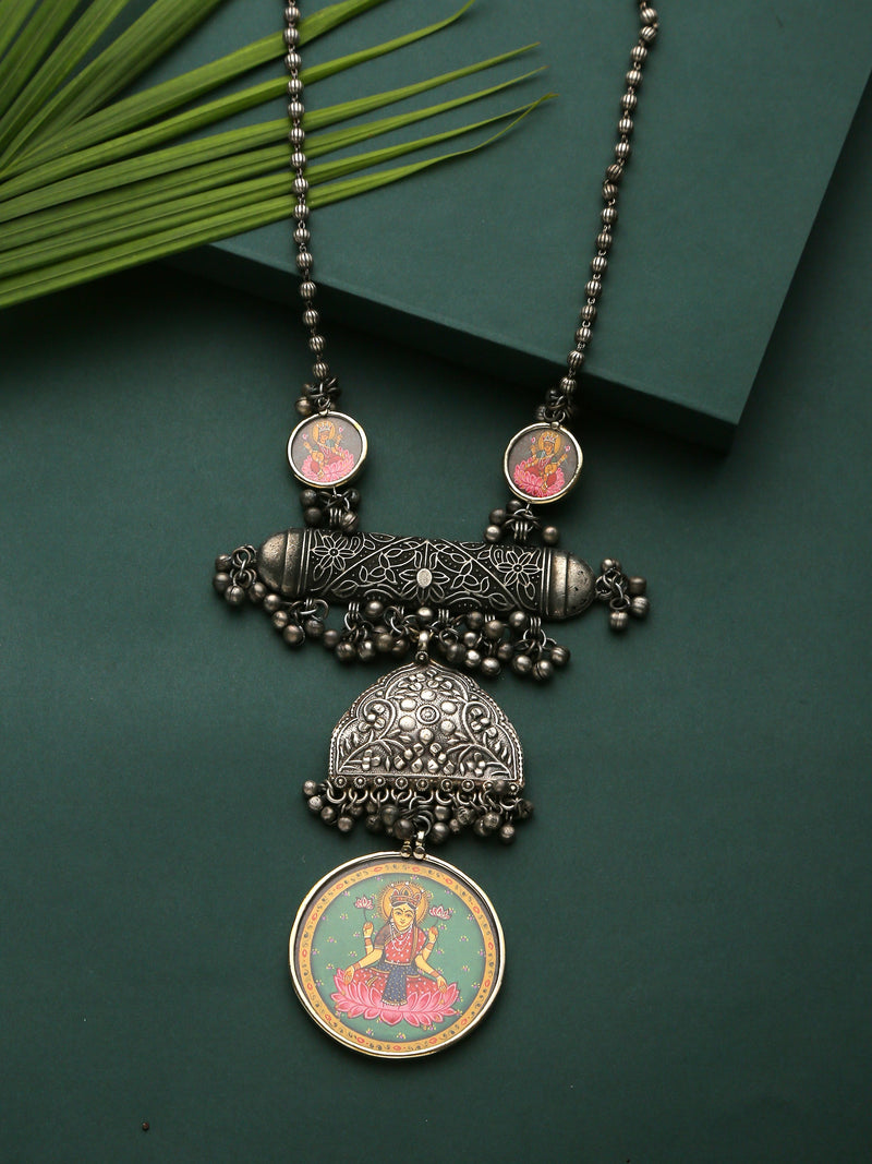 Traditional Afghani pendant necklace with painting - Sweet Magnoliaa