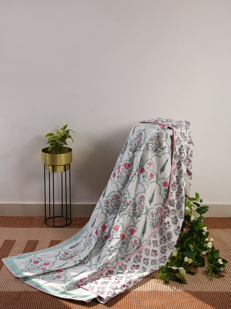 Double Dohar  hand block printed, hand crafted reversible in Eco Friendly Cotton - Sweet Magnoliaa