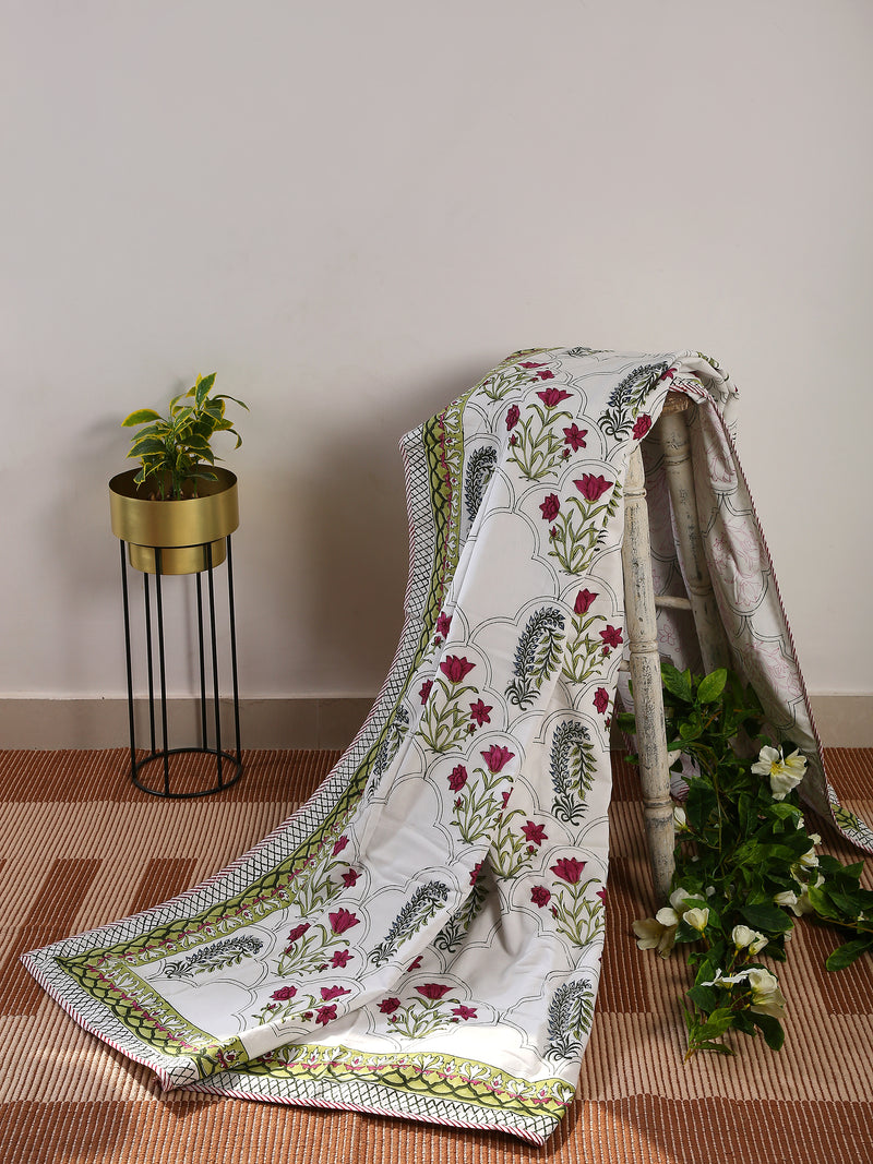 Single Dohar hand block printed, hand crafted reversible in Eco Friendly Cotton - Sweet Magnoliaa